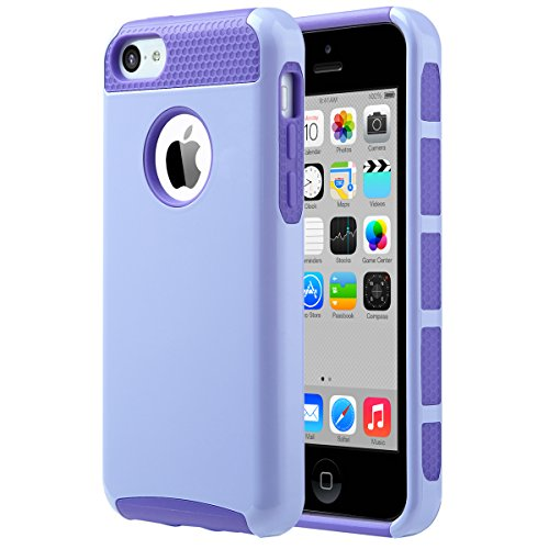 iPhone 5C Case, ULAK Slim Lightweight 2in1 iPhone 5C Cases Hybrid with Soft Rugged TPU Inner Skin and Hard PC Anti Scratches Protective Cover for Apple iPhone 5C -Periwinkle+Purple
