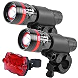 Bike Light Front and Rear Combinations - Zoomable Aluminum Cycle LED Torch Headlight and Tailight with Mount - Quick Release Perfect for Night Rider(Red)