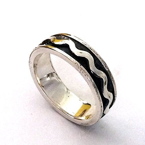 7mm wide Spinner wedding band Unisex rustic silver wave ring - Unforgettable moments R2154