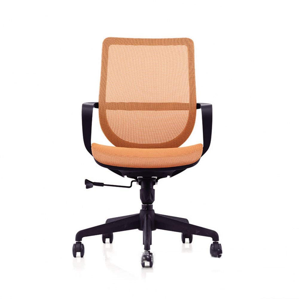KIMIBen-HC Office Chair Direct Set of Swivel Computer Desk Task Chair Ergonomic Mid Back Mesh Office Chair Human Body Design Waist Support Chair (Color : Orange, Size : 566889cm) by KIMIBen-HC (Image #1)