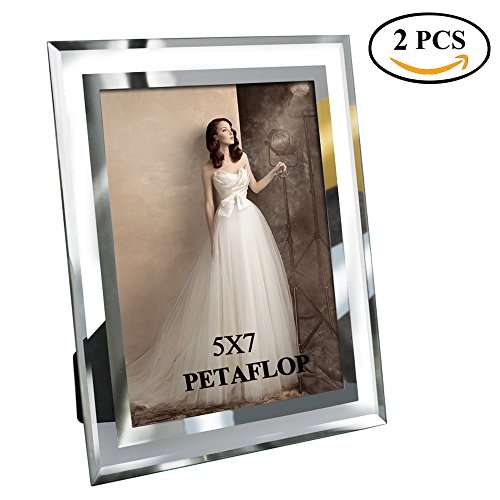 PETAFLOP 5x7 Glass Picture Frames Perfect for Family Office Table Decorations, 2 (Glass Family Frame)