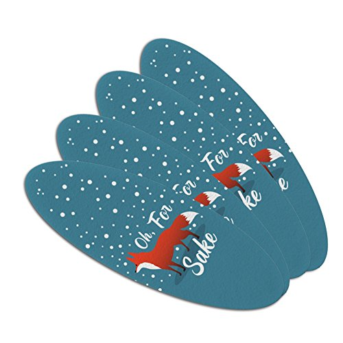 Oh For Fox Sake Funny on Teal Double-Sided Oval Nail File Em
