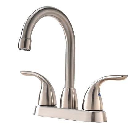 Hotis Utility Two Handle Centerset Stainless Steel Lead Free Lavatory  Bathroom Vanity Basin Sink Faucet,