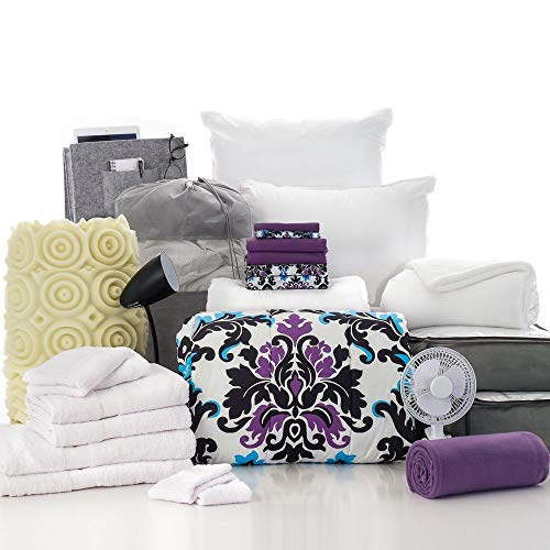 OCM 27 Piece Varsity Collection Ashley Damask and Grape Twin XL College Dorm Bedding and Bath -