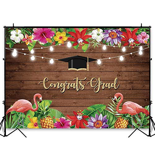 Funnytree 7x5ft Graduation Party Backdrop Class of 2019 Rustic Wood Flamingo Floral Photography Background Congrats Grad Prom Tropical Summer Palm Flower Decorations Photo Booth Cake Table Banner ()