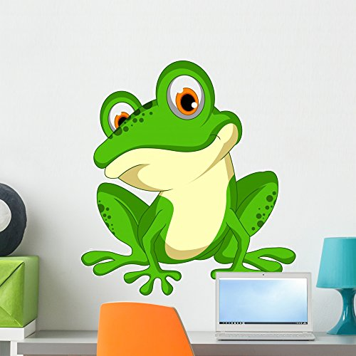 Wallmonkeys FOT-79998521-24 WM362635 Funny Green Frog Cartoon Sitting Peel and Stick Wall Decals (24 in H x 22 in W), Medium