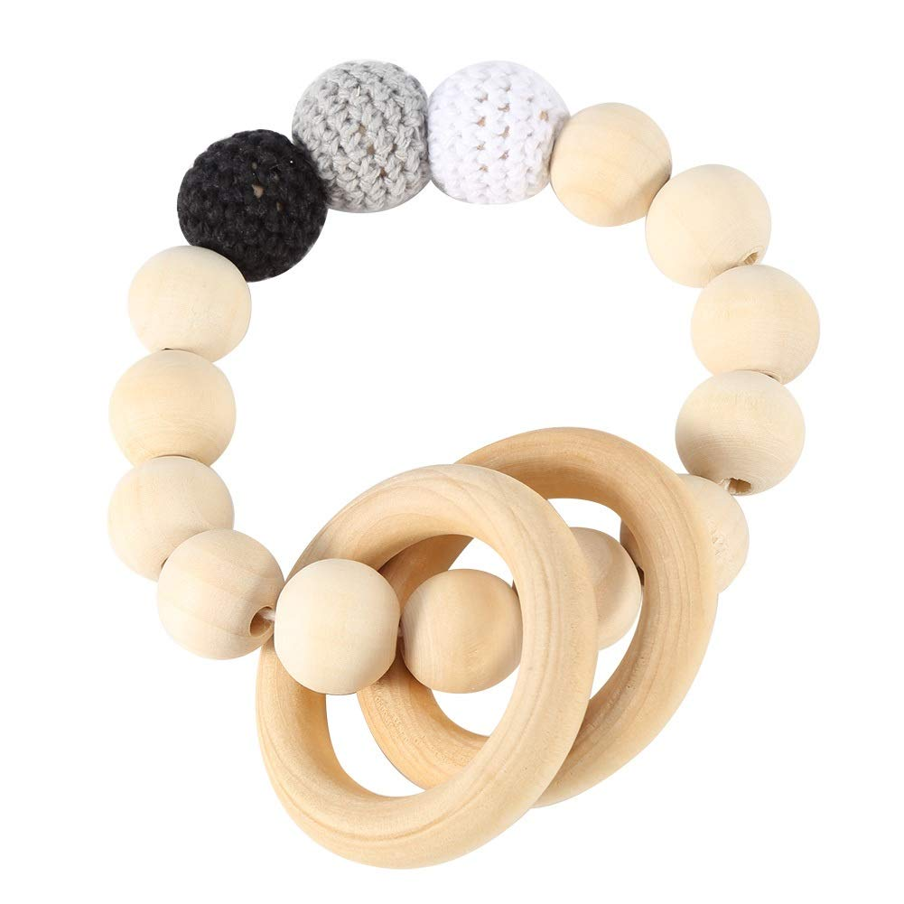 Infant Product Non Toxic Baby Chewing Teether Bracelet Bead Gum Natural Wood