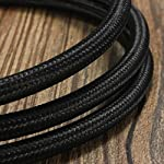 32.8ft Round 18/2 Rayon Covered Wire,HESSION Antique Industrial Electrical Cloth Cord,Vintage Style Lamp Cord strands UL listed(Black)