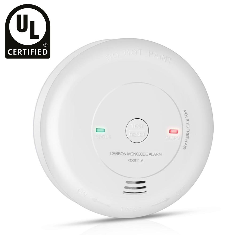 Flexzion CO Carbon Monoxide Detector Alarm Tester Sensor Meter Alert UL Certified Home Safety with Digital LCD Display and Voice Warning Battery Operated Portable in White