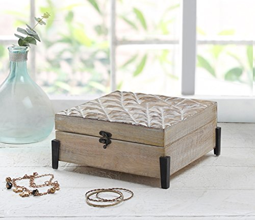 storeindya Handmade Wooden Jewelry Box - Keepsake Box - Storage Organizer Multipurpose Box - Treasure Chest - Trinket Holder for Women Men Girls (Mystic White Collection)