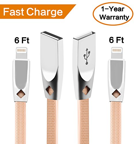 Hesute iPhone Charger (2Pack) iPhone Cable zinc 6ft iPhone Charger USB to iPhone Lightning Cable Compatible with iPhone X/8/8plus/7/7plus/6s/6s Plus/6/6 Plus/5/5S/5C/SE/iPad and iPod (2pack, Gold)