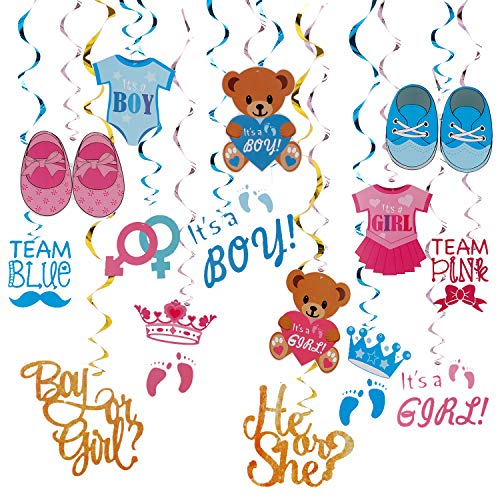 Gender Reveal Party Supplies Decorations 15Ct Baby Shower Hanging Swirl Ornaments for Boy Girl]()