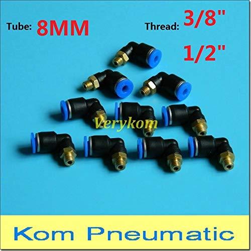 Fevas [10PCS PL 8-03 Pneumatic Male Elbow Air Fitting, 8mm Tube 3/8
