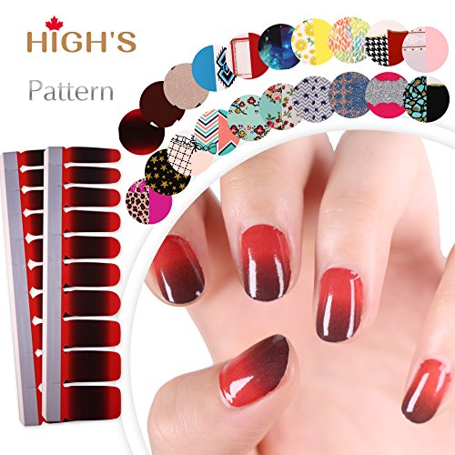 HIGH'S Single Color Series Manicure Nail Polish Strips Nail Wraps, The Halloween -