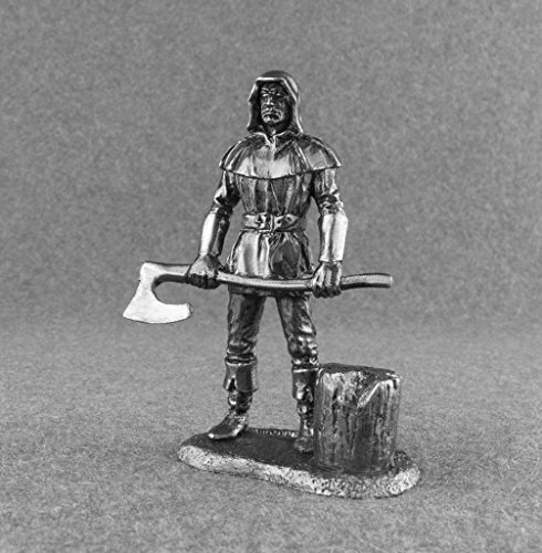 Medieval Headman Battle Axe Executioner Civilian UnPainted Tin Metal 54mm Action Figures Toy Soldiers Size 1/32 Scale for Home Décor Accents Collectible Figurines ITEM #Mw-14 - Executioner Medieval Axe