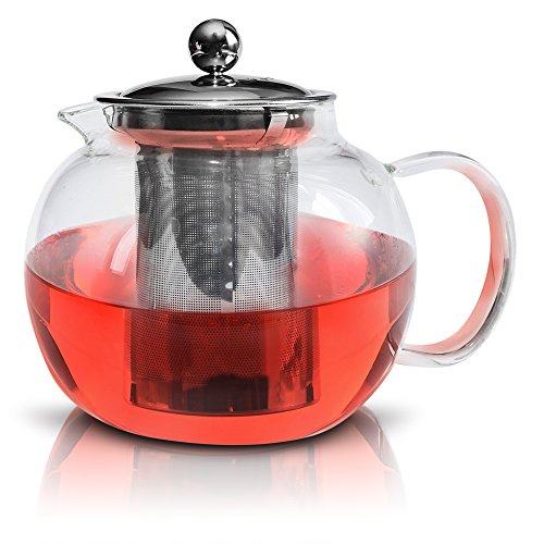 Glass Teapot By Kitchen Temptations - Microwavable Tea Kettle and Tea Pot Strainer With Stainless Steel Loose Leaf Infuser Holds 3-4 cups