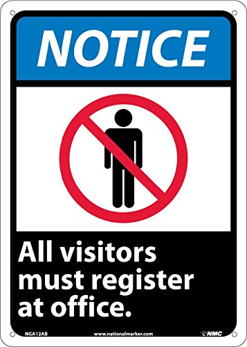 National Marker Corp. NGA12AB Notice, All Visitors Must Register At Office (W/Graphic) Sign, 14 Inch X 10 Inch, 0.040 Alum