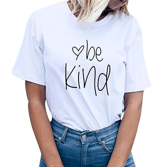 Luckycat Mujer T-shirt Linda Redondo Camisetas Tops Hipster Mujer Suelta  Camisetas Redondo Manga Corta 196f076ea553