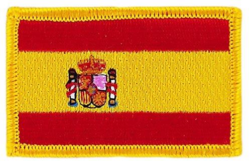 Toppa ricamata a forma di bandiera spagnola, termoadesiva Akacha