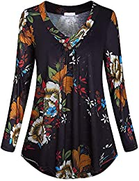 Women's Casual Printed V-Neck Buckle Button Long Roll Sleeve Pleated Hem Top Shirt