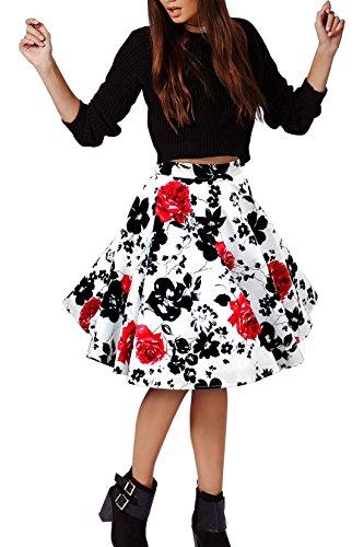 Hepburn 8 Chic Mot Haute de Jupe Jupe plisse Taille imprime Jupe Poncho de de Une Hippolo wqXZSX