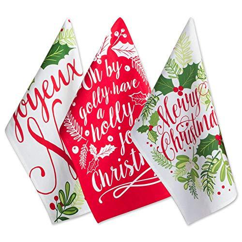 DII Christmas Dishtowel Decorative Oversized, Set of 3, Holly