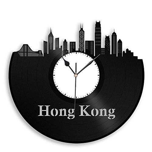 Hong Kong Vinyl Wall Clock City Skyline Travel Gift