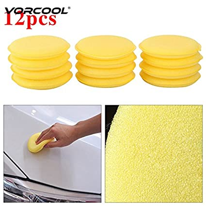 12pcs Cars Vehicle Yellow Waxing Polish Wax Foam Sponge Applicator Pads Cleaner