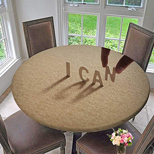 PINAFORE HOME Simple Modern Round Table Cloth on Compressed Board Cork Board with Human s fer at n Letter for Daily use, Wedding, Restaurant 31.5