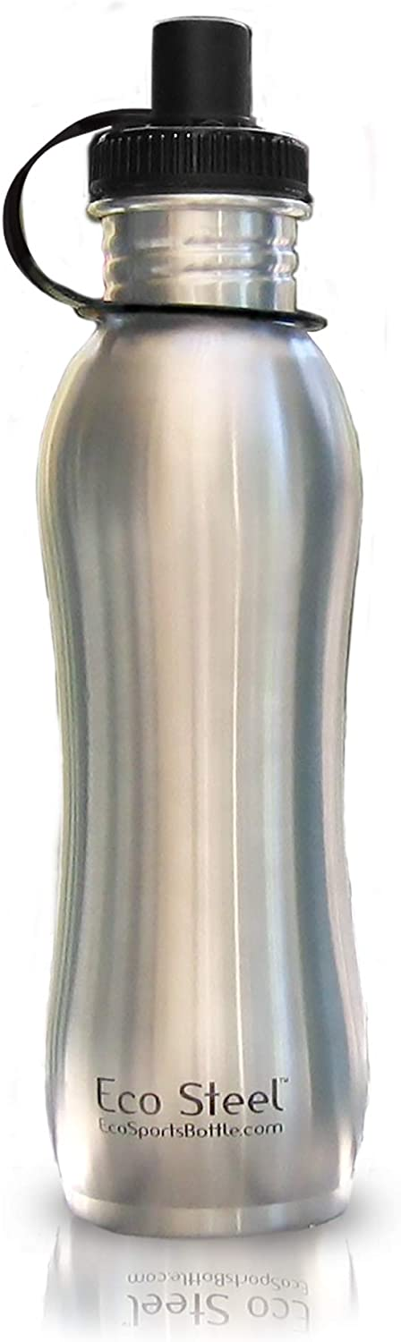 Eco Sports Stainless Steel Water Bottle - 27 oz - with Leak Resistant Sport Cap - Certified 100% BPA and Lead Free