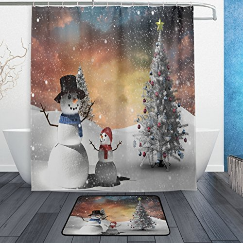 Naanle Merry Christmas Fir Tree and Snowman in Snowy Landscape Waterproof Polyester Fabric Shower Curtain (60