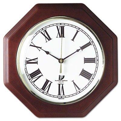 Lighthouse Brass Clock - ILC67207010 - CHICAGO LIGHTHOUSE FOR THE BLIND Octagon Mahogany Quartz Clock