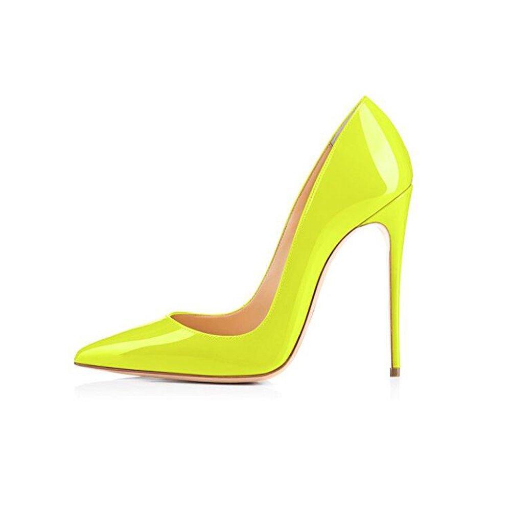 Zapato de tacón alto de aguja amarillo neón