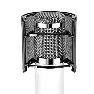 Neewer Pro Microphone Pop Filter Archy Shape Mask Shield Mic Wind Screen with Metal Mesh and Dual Layer for Recording Vocals Home Studio Broadcasting Podcasting, 2 Packs, Black