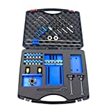 SINOCMP Doweling Jig Kit with 5 Dowel Drilling Sleeves (6/8/10mm) For Precision Woodworking, Blue Aluminum Alloy Dowel Jig, 5 Years Warranty, Have Install Instruction On Youtube