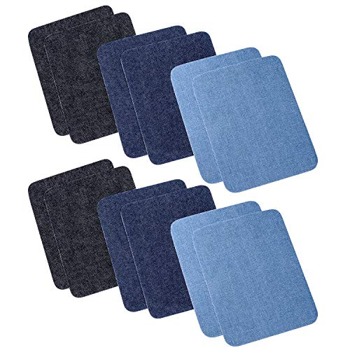 Jeans Sewing Patch - Iron On Denim Patches for Clothing Jeans 12 PCS, 3 Colors (4.9