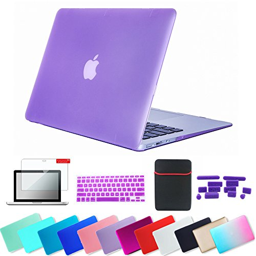 Se7enline Macbook Air 11 Case Soft-Touch Matte Plastic Hard Shell Cover for 11.6 inch Macbook Air A1370, A1465 with Sleeve Bag, Keyboard Cover, Screen Protector, Dust plug 5 in 1 Bundle, Light Purple (Macbook Air Accessories Bundle)