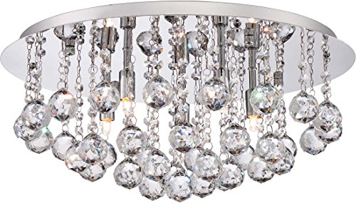 Quoizel BRX1619C Bordeaux Crystal Flush Mount Ceiling Lighting, 5-Light, Xenon 200 Watts, Polished Chrome (9