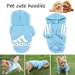 QiChengLYS-Adidog-Dog-Hoodie-Ropa-Mascota-Cachorro-Gato-algodon-Lindo-calido-Sudadera-con-Capucha-sueter-S-Azul