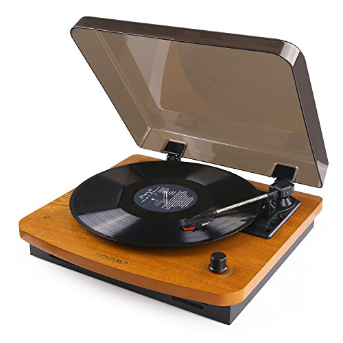 HOVAMP 3-Speed Turntable with Built-in Stereo Speakers RCA Output, Vintage Style Record Player – Oak