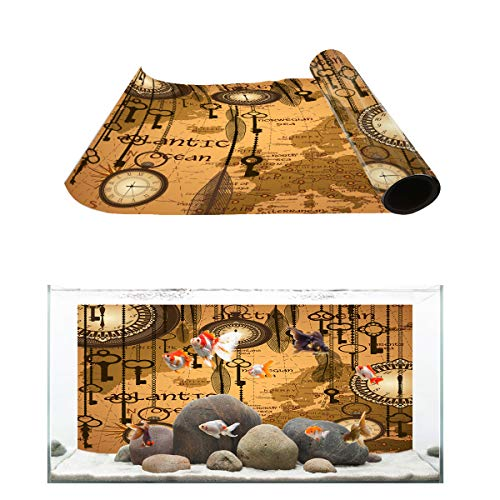 Fantasy Star Aquarium Background Ancient World Map Pocket Watch Pattern Fish Tank Wallpaper Easy to Apply and Remove PVC Sticker Pictures Poster Background Decoration 18.4