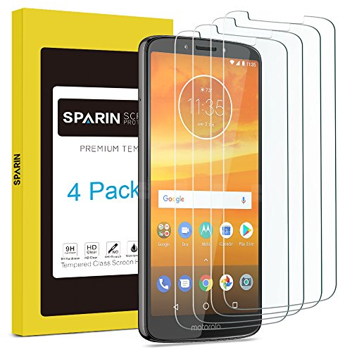 [4 Pack] MOTO E5 Plus Screen Protector, SPARIN Tempered Glass Screen Protector for MOTO E5 Plus,Covers Viewable display Only, Anti-Scratch/Response Quickly/Easy Installation/Bubble Free,6.0 inch