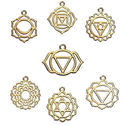 Chakra Pendants, Indian Energy Charms, 21 Pcs (3 of Each) (Gold Tone) ()