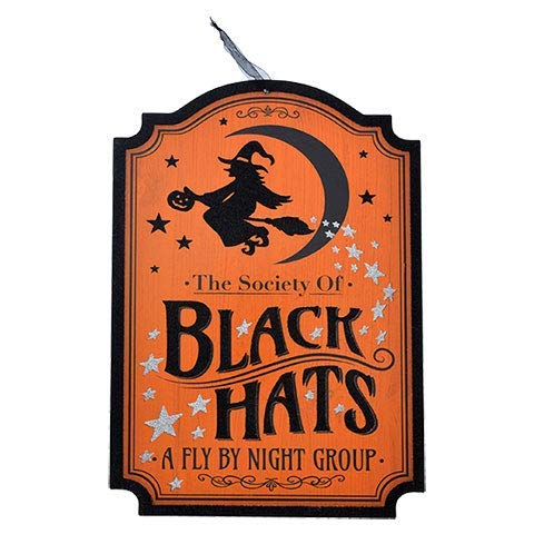 Greenbriar International Halloween Society of Black Hats Wooden Wall Hanging Door Decor 9 1/2 x 13 -
