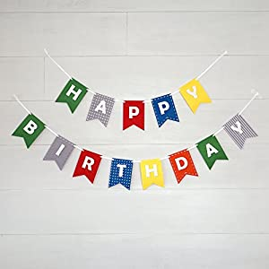 Amazon.com: Happy Birthday Banner Bunting Laser Cut Felt 60 inches ...