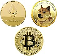 3Pcs Premium Commemorative Coin Gold Coins for Cryptocurrency Fans with Protective Case   Gold Plated Cryptocu