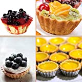 "Set of 20, Heyeery 3-3/4"" Fluted Design Round Shape Non-stick Tart Mold, Mini Pie Tin, Tartlet Pan, Egg Tart Cupcake Cake Cookie Mold Tin Baking Tool Baking Cups"