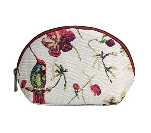 Signare Red & White Floral Tapestry Makeup Bag Travel Cosmetic Bag Brush Bag for Women Girls with Hummingbird and Flower (COSM-HUMM)