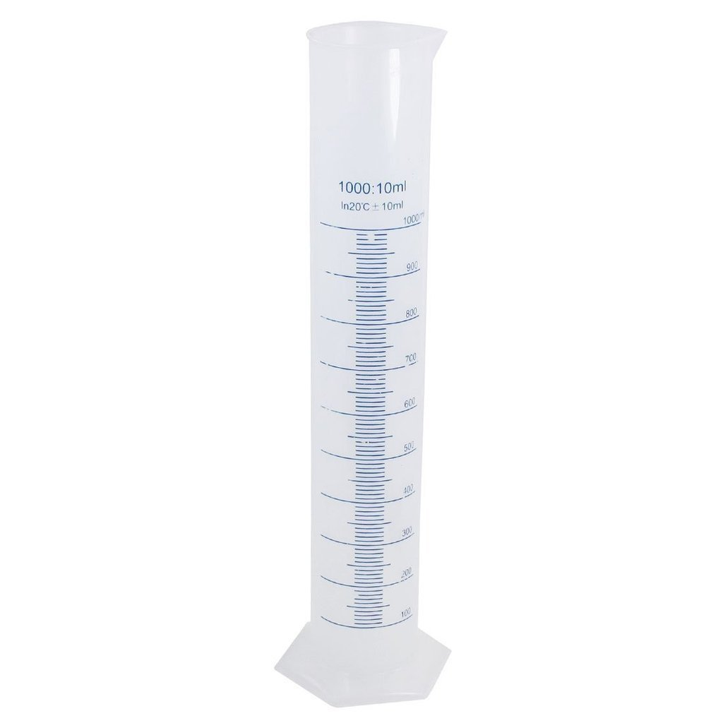 Winterworm® 1000ml Transparent Plastic Graduated Cylinder for Laboratory Tests