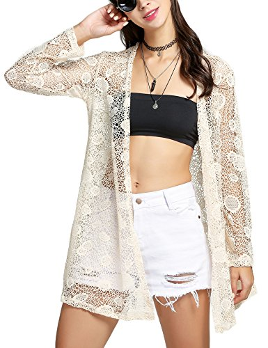 Meaneor Women's Sheer Sexy Tassel Chiffon Loose Boho Sleeve Cardigan Kimono Blouse Coat Beige XL